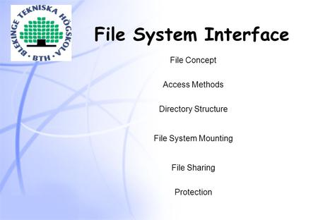 File System Interface File Concept Access Methods Directory Structure File System Mounting File Sharing Protection.
