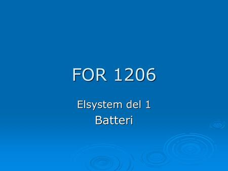 FOR 1206 Elsystem del 1 Batteri.