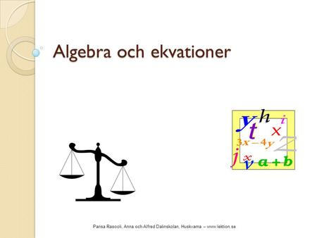 Algebra och ekvationer