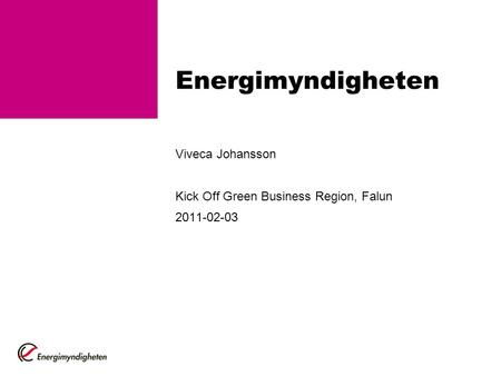 Energimyndigheten Viveca Johansson Kick Off Green Business Region, Falun 2011-02-03.