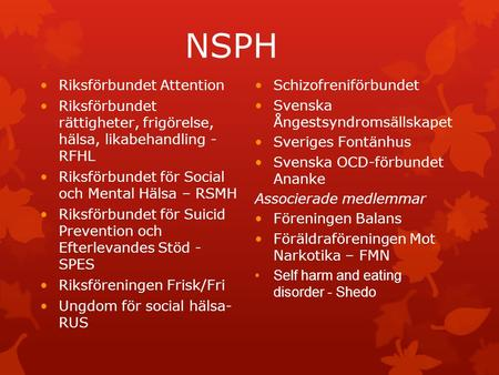 NSPH Riksförbundet Attention