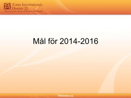 Mål för 2014-2016. Biennial Goals 2014 – 2016 Living up to our mission Conviction – Commitment – Courage Proposals presented and voted on at the ZI 2014.