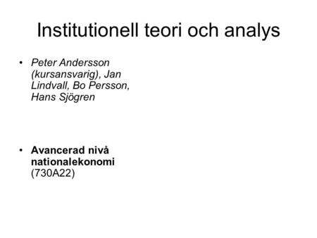 Institutionell teori och analys