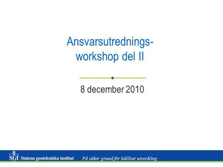 Ansvarsutrednings- workshop del II