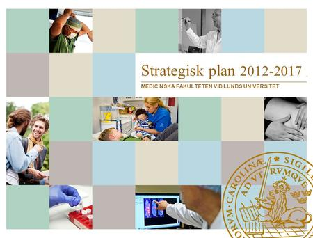 Strategisk plan 2012-2017 MEDICINSKA FAKULTETEN VID LUNDS UNIVERSITET.