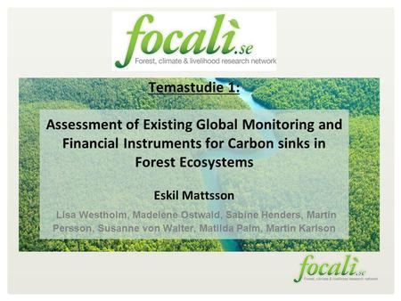 Temastudie 1: Assessment of Existing Global Monitoring and Financial Instruments for Carbon sinks in Forest Ecosystems Eskil Mattsson Lisa Westholm, Madelene.