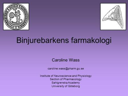 Binjurebarkens farmakologi Caroline Wass Institute of Neuroscience and Physiology Section of Pharmacology Sahlgrenska Academy.
