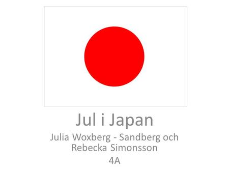 Jul i Japan Av: Jul i Japan Julia Woxberg - Sandberg och Rebecka Simonsson 4A.