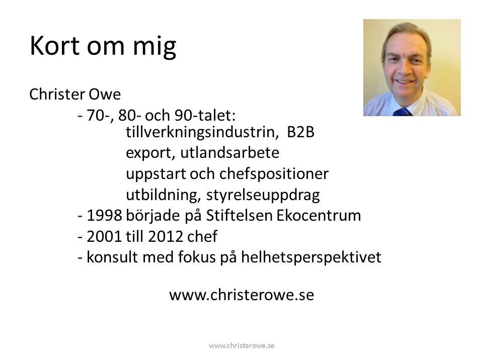 Förra veckan Lukas Åvall talade marknadsföring Segmentering Kommunicerbara värden – Volvo och säkerhet Mineralvattenexemplet Skillnader i fokus – Försäljning, Marknad och PR-byrå www.christerowe.se