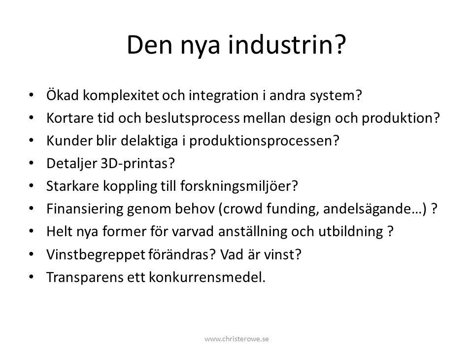 Den nya industrin.Ökad komplexitet och integration i andra system.