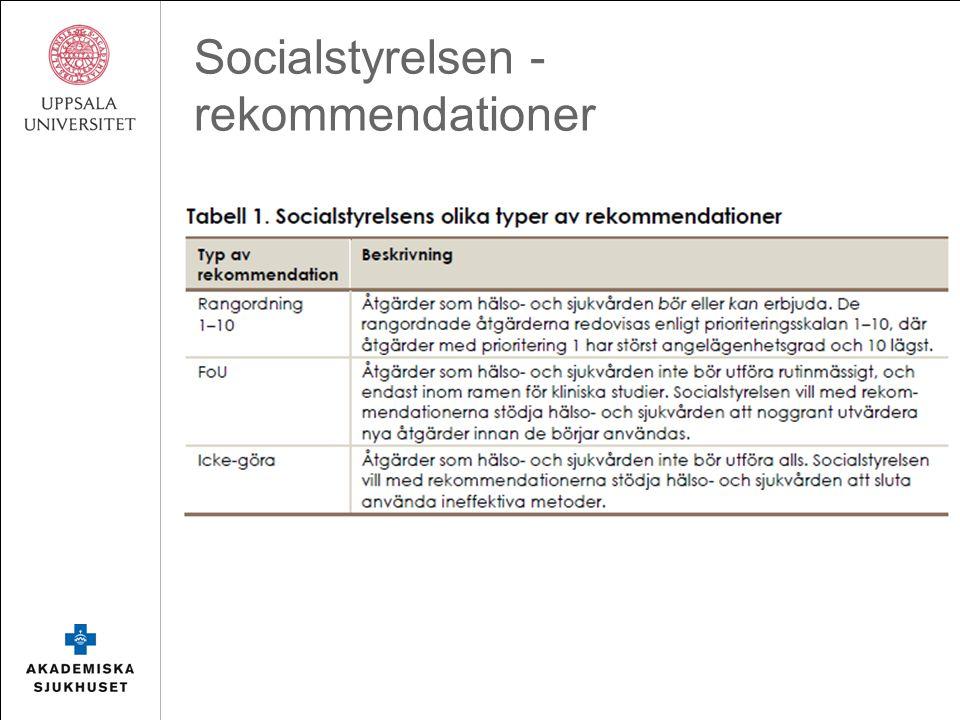 Socialstyrelsen – rekommendationer MS Prioritet 1-4 bör 5-7 kan 8-10 kan i undantagsfall