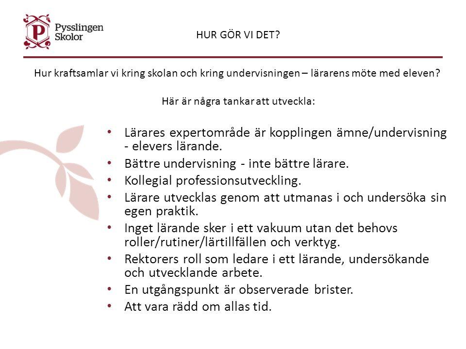 Lars Svedberg Pedagogiskt ledarskap innebär Gemensamt skapa förutsättningar för -Elevers lärande och lärares undervisning - Stärka professionen genom att leda Lärares kollegiala lärande - Analysera sambanden mellan metoder, elevers lärande och skolans resultat