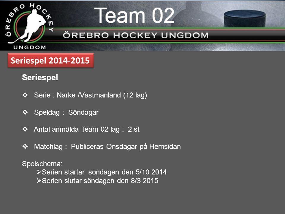 Seriespel 01 2014-2015 prel Seriespel  Serie : Närke /Västmanland (12 lag)  Speldag : Lördag  5 spelare + mv kommer att lånas ut Lördagar till 01