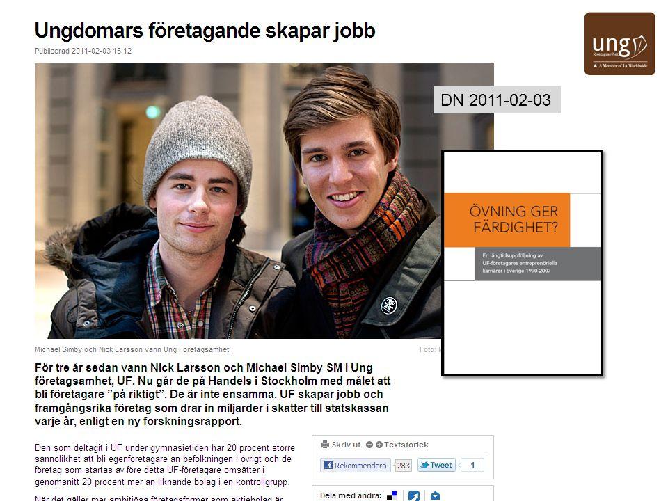 7 Rapporten – En långtidsuppföljning av UF-företagares entreprenöriella karriärer i Sverige 1990-2007 – är en Utvärdering av långtidseffekterna av praktisk övning i entreprenörskap i unga år.