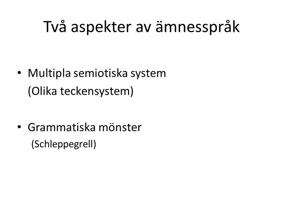 Multipla Semiotiska System (Representationsformer, modaliteter) Schleppegrell, s. 141