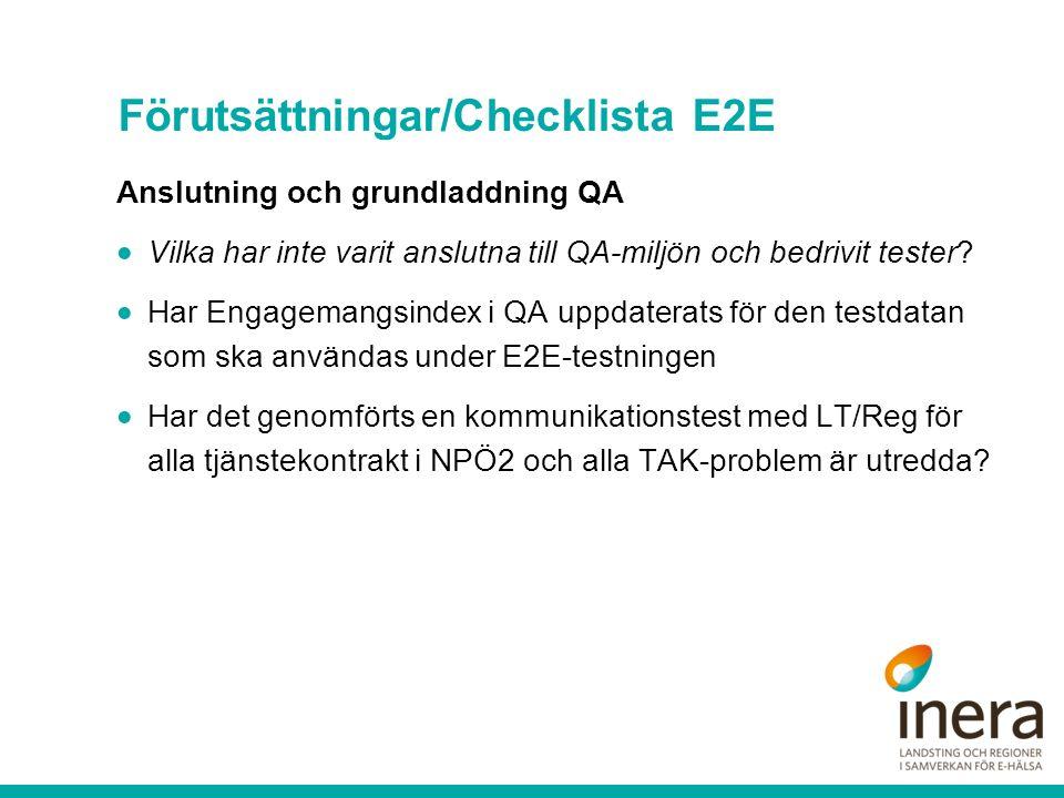 Förutsättningar/Checklista E2E Vid Kommunikationsproblem 1.Rapportera i ärendet med ärendenumret för blanketterna.