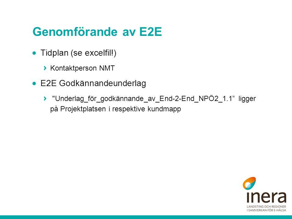 Dagligt standup-möte under E2E (15 min) Kort statusrapport från varje pågående E2E-projekt (lt/reg/pv/kommun-representant rapporterar) Statusrapporteringen görs baserat på dessa frågor:  Vad gjorde ni igår.