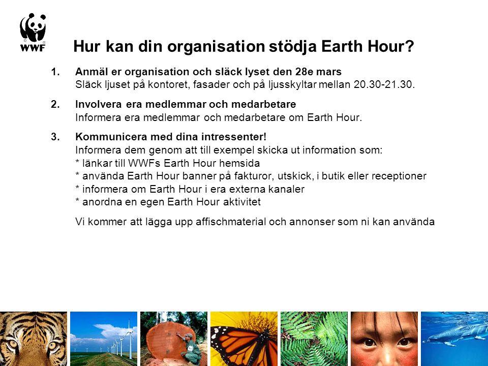Hur kan er organisation stödja Earth Hour.