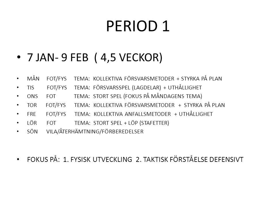 PERIOD 2 11 FEB- 31 MARS ( 7 VECKOR ) MÅN FOT/FYS TEMA: INDIVIDUELLT FÖRSVARSSPEL + STYRKA TIS FOT/FYS TEMA: KOLLEKTIVA ANFALLSMETODER + UTHÅLLIGHET ONS FOT TEMA: STORT SPEL TOR FOT/FYS TEMA: KOLLEKTIVA ANFALLSMETODER + STYRKA FRE FOT TEMA: KOLLEKTIVA FÖRSVARSMETODER + ANFALLSMÖNSTER LÖR MATCH SÖN VILA/ÅTERHÄMTNING/FÖRBEREDELSER FOKUS PÅ: 1.