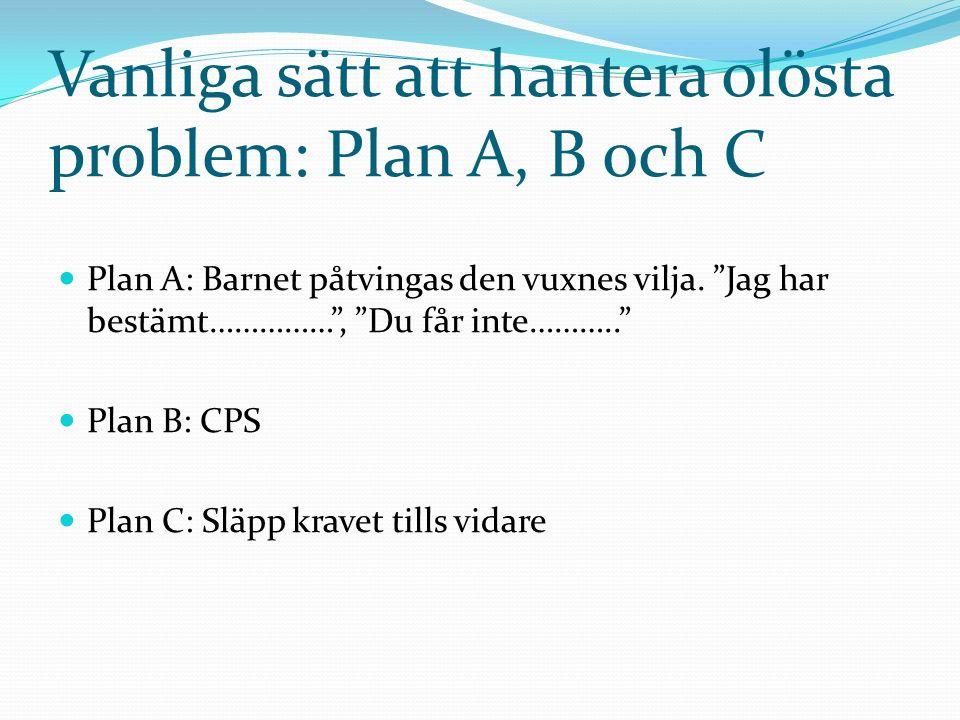 CPS-metoden 1.Identifiera bristande förmågor med ALSUP 2.
