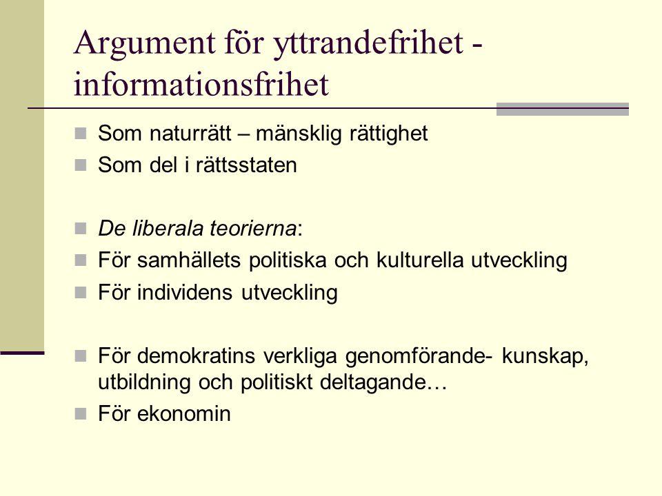 Sammanfattning… Ökad betydelse av fri- och rättigheter, samt skillnader i lagstiftningen mellan yttrande- tryck och informationsfrihet /tryckfrihet och andra 'opinionsfriheter'.