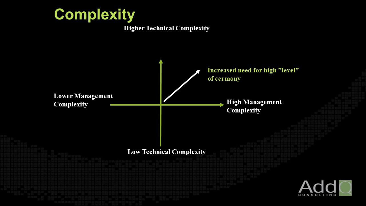 Complexity Low Technical Complexity Application re-engíneering Component based Interactive performance High Management Complexity Large Scale Contractual Many stakeholders Higher Technical Complexity High performance Custom unprecedented Architecture re-engineering Lower Management Complexity Small Scale Informal Few stakeholders Increased need for high level of cermony