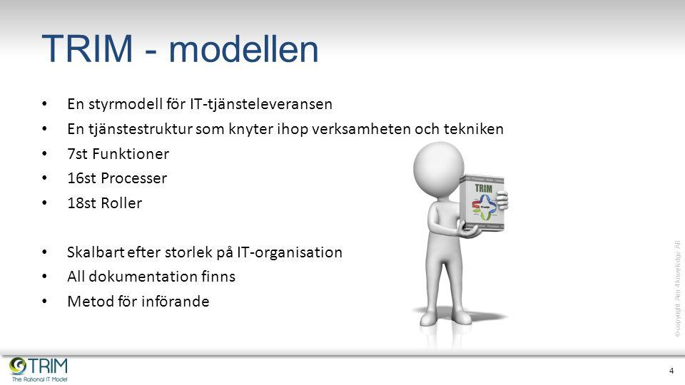 5 © copyright Aim 4 knowledge AB Modellens byggstenar Styrning TjänsterProcesser Organisation Styrmodell Nyckeltal Struktur Ansvar Dokumentation Operativt Mätning Förbättringar
