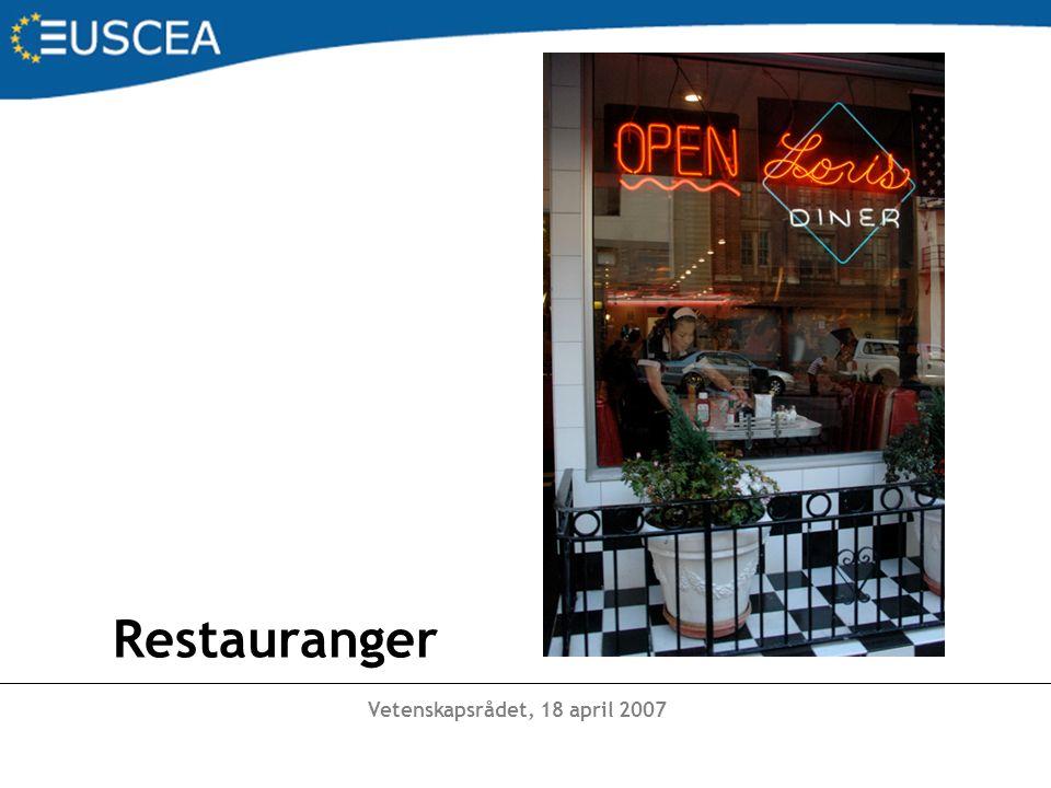 Vetenskapsrådet, 18 april 2007 Caféer