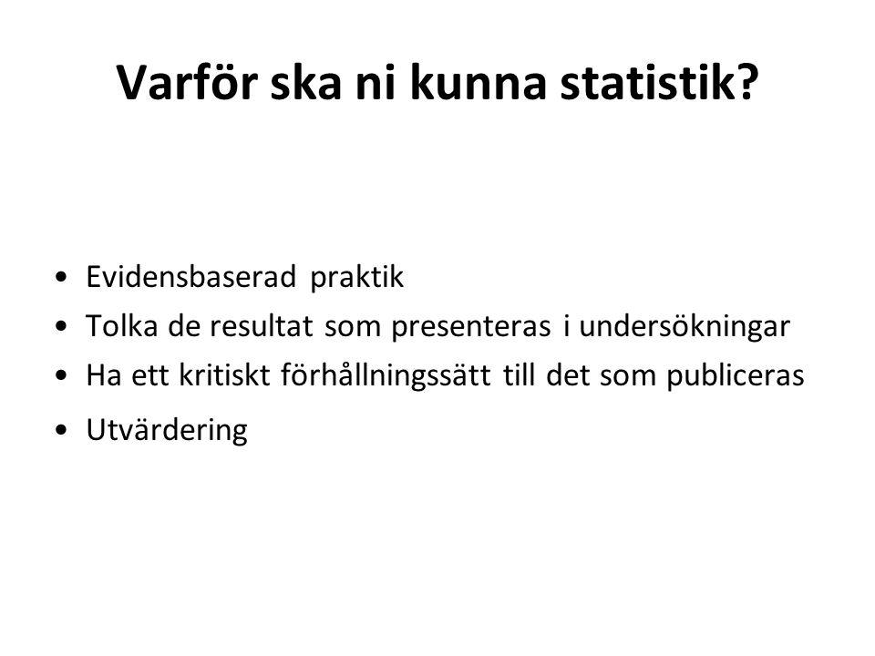 Kom ihåg att… Statistik är ett förenklat sätt att beskriva verkligheten.