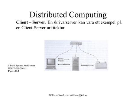 William Sandqvist Distributed Computing Client – Server. En skrivarserver kan vara ett exempel på en Client-Server arkitektur. S Burd, Systems.