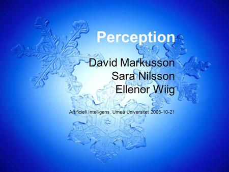 Perception David Markusson Sara Nilsson Ellenor Wiig Artificiell Intelligens, Umeå Universitet 2005-10-21.