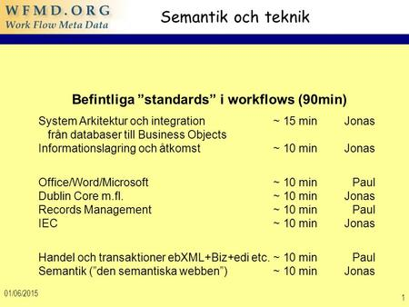 "01/06/2015 1 Semantik och teknik Befintliga ""standards"" i workflows (90min) System Arkitektur och integration~ 15 min Jonas från databaser till Business."