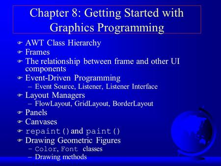 Chapter 8: Getting Started with Graphics Programming