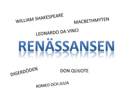 WILLIAM SHAKESPEARE MACBETHMYTEN DIGERDÖDEN DON QUIJOTE LEONARDO DA VINCI ROMEO OCH JULIA.
