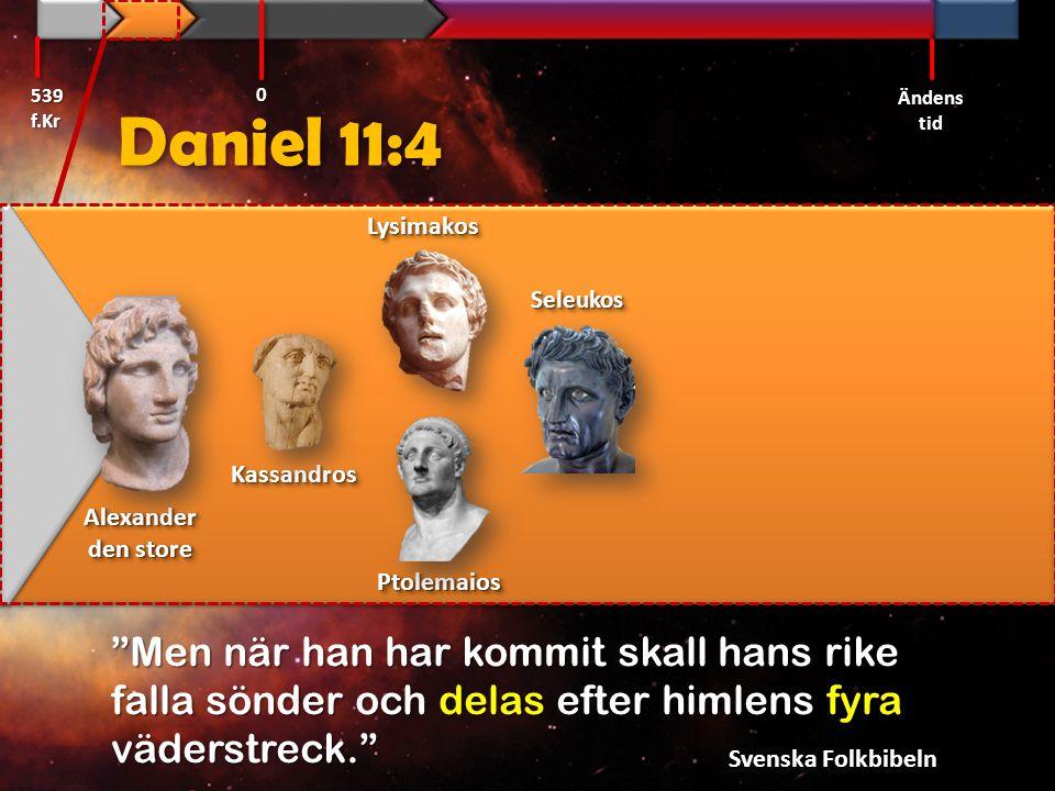 Daniel 11:4 Kassandros  Makedonien Lysimakos  Trakien Ptolemaios  Egypten Seleukos  Syrien Kassandros  Makedonien Lysimakos  Trakien Ptolemaios  Egypten Seleukos  Syrien 539 f.Kr Ändens tid 0
