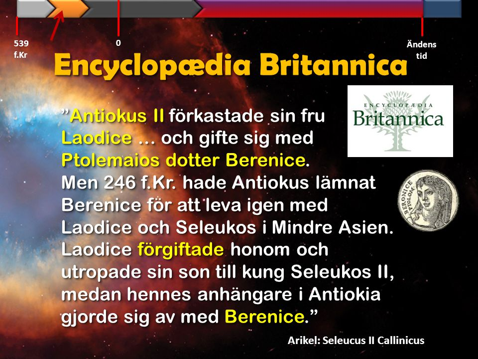 Daniel 11:6 Alexander den store Alexander 539 f.Kr Ändens tid 0 Ptolemaios I Seleukos I Antiokus I Antiokus II Ptolemaios II LaodiceLaodice Tredje syriska kriget BereniceBerenice Seleukos II
