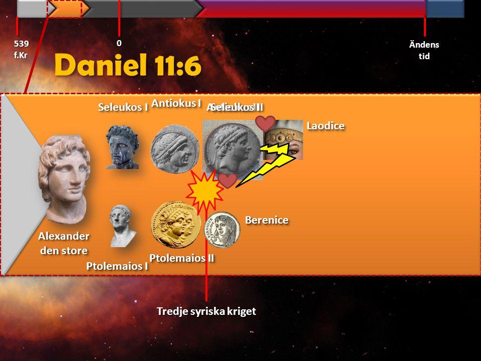 Daniel 11:7 Men en telning från hennes [Berenice] rötter skall stiga upp i hans [Ptolemaios II] ställe och dra upp mot nordlandskungens [Seleukos II, Laodices son] här och tränga in i hans fäste och göra med folket vad han vill och få överhanden. Svenska Folkbibeln 539 f.Kr Ändens tid 0