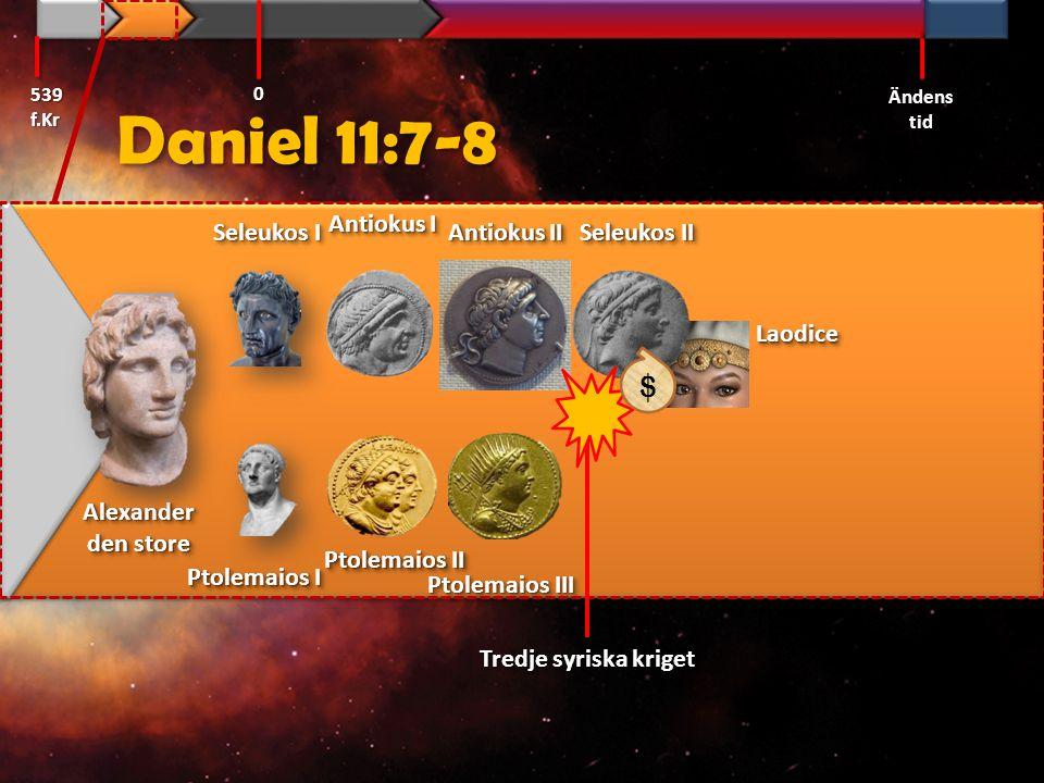 Daniel 11:10 Hans [Seleukos II:s] söner [Seleukos III & Antiochus III] skall rusta sig till strid och samla en väldig krigshär, som skall välla fram som en störtflod och tåga in.