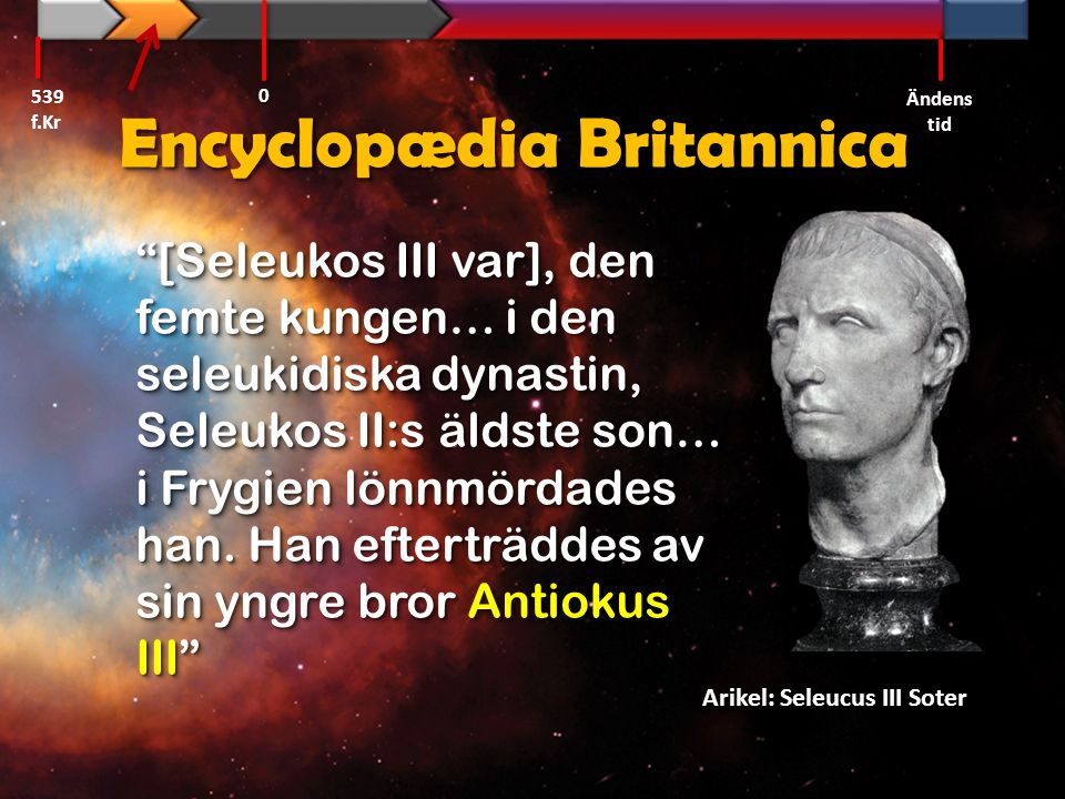 Daniel 11:10-12 Alexander den store Alexander 539 f.Kr Ändens tid 0 Ptolemaios I Seleukos I Antiokus II Seleukos II Antiokus III Seleukos III Ptolemaios IV Fjärdje syriska kriget 219-217 f.Kr Fjärdje syriska kriget 219-217 f.Kr Antiokus I Ptolemaios II Ptolemaios III