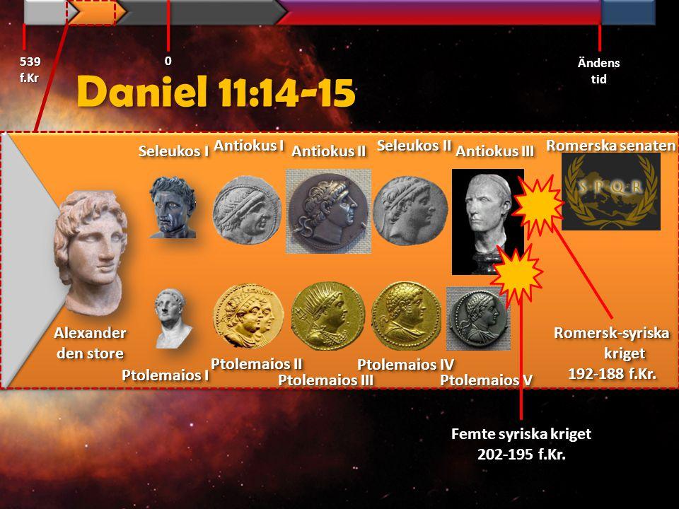 Daniel 11:16 Och han [Rom] som rycker emot honom [Antiokus III] skall göra vad han vill, och ingen skall kunna stå emot honom;… GT-82 539 f.Kr Ändens tid 0