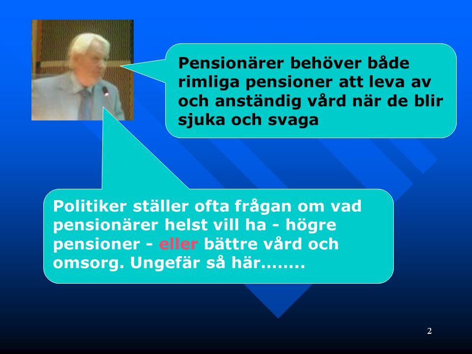 3 Anständig vård eller högre pensioner.