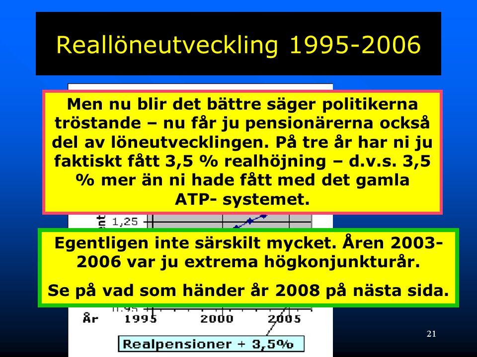 22 Vad blir pensionärernas utfall under år 2008 • Löneindex ökar med 4,35 % • Avgår: -1.60 % • Kvarstår 2,75 % • På en pension på 12 000 kr = 330:- kr • Avgår skatt – återstår 215:- kr • Inflation ligger nu på 3,5 % -420:- kr MINSKAD KÖPKRAFT -205:- kr d.v.s.