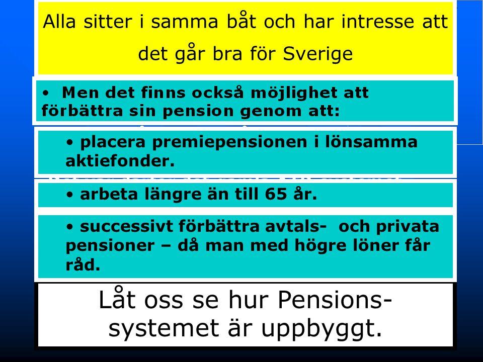 7 Pensions- systemets tre delar Privat Pension Avtals- pension Allmänna pensioner Tilläggs-/Inkomstpension Garantipension Utbetalas från Försäkringskassan Allmänna pensioner är begränsade till 7 300 – 15 000 kr/månad Premie- pension En beskrivning av de olika pensionerna finns längst bak.