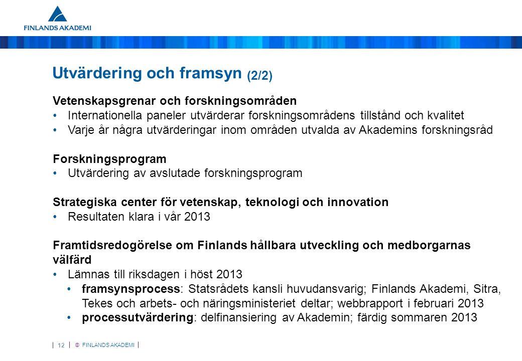 © FINLANDS AKADEMI 13 Organisation (1/2)
