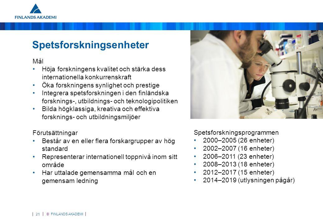 © FINLANDS AKADEMI 22 Spetsforskningsenheter 2008–2013