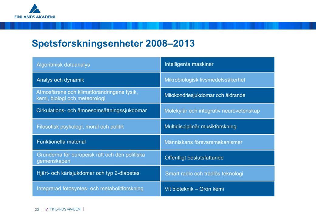 © FINLANDS AKADEMI 23 Spetsforskningsenheter 2012–2017