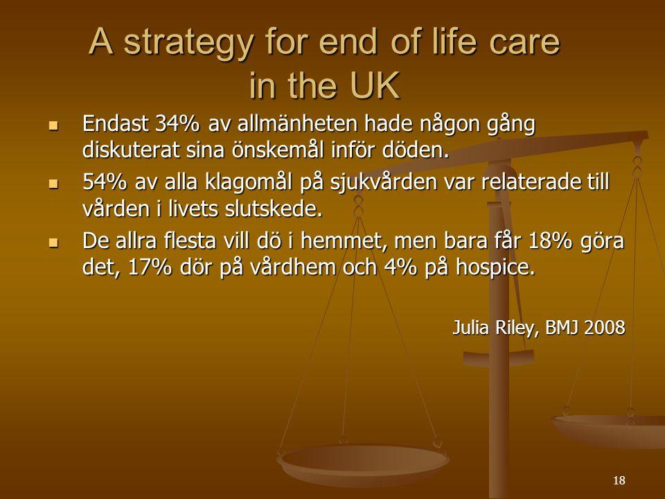 19 A six step end of life care pathway  Öppen kommunikation  Upprättande av vårdplan  Koordination av vården  Hög servicekvalitet  Planera vården de sista dagarna  Planera vården efter döden www.dh.gov.uk/