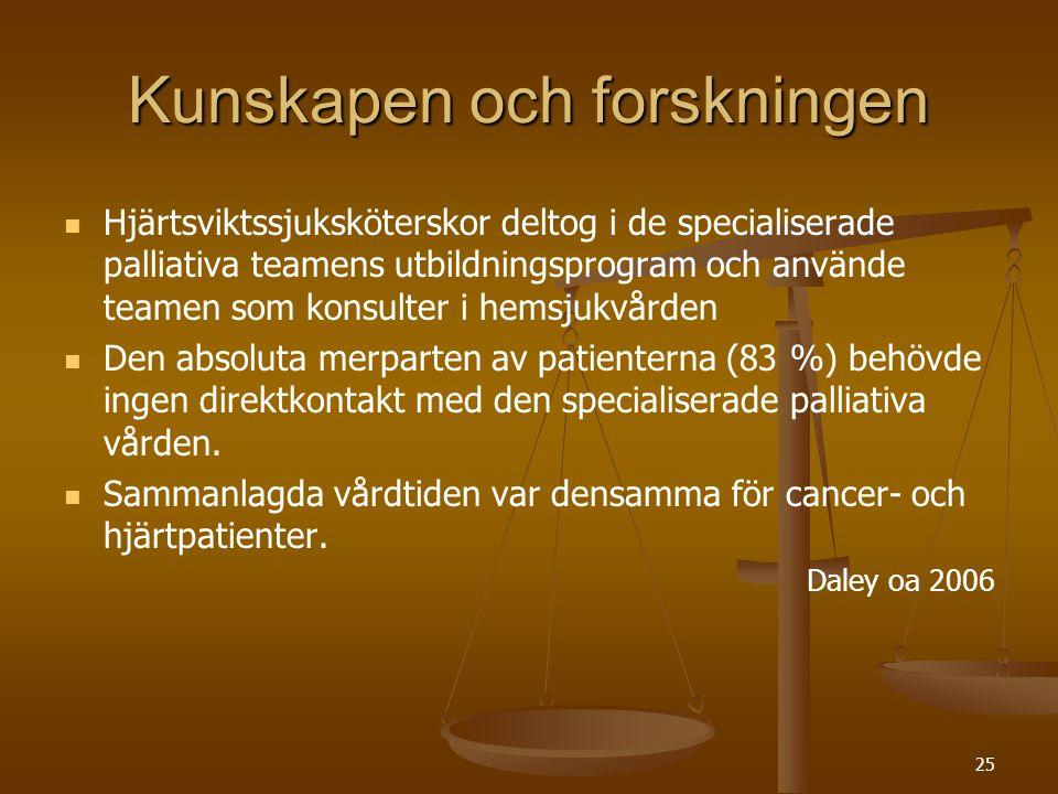 26 Kunskapen och forskningen   Svenska vårdprogram, specifikt utformade för hjärtpatienter i livets slutskede finns i Skellefteå.