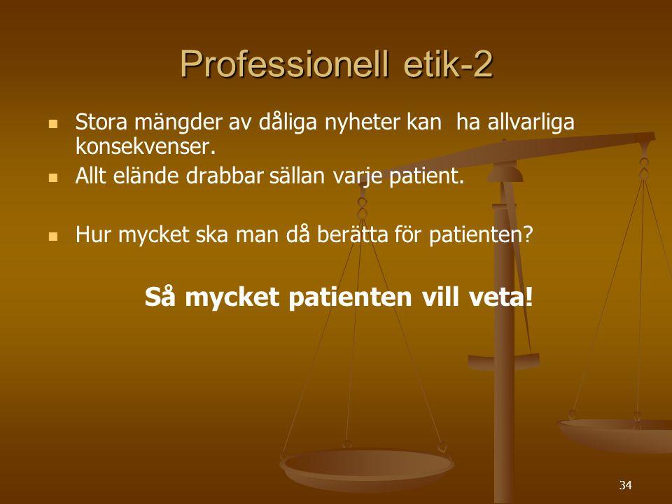 35 Professionell etik-3 Information ska ges så att patienten   kan ta in den   förstå den   tro den och   tolka den i sitt eget sammanhang Informationen är alltid osäker vilket kräver ärlighet och uppriktighet Övertalning och manipulation är aldrig acceptabelt