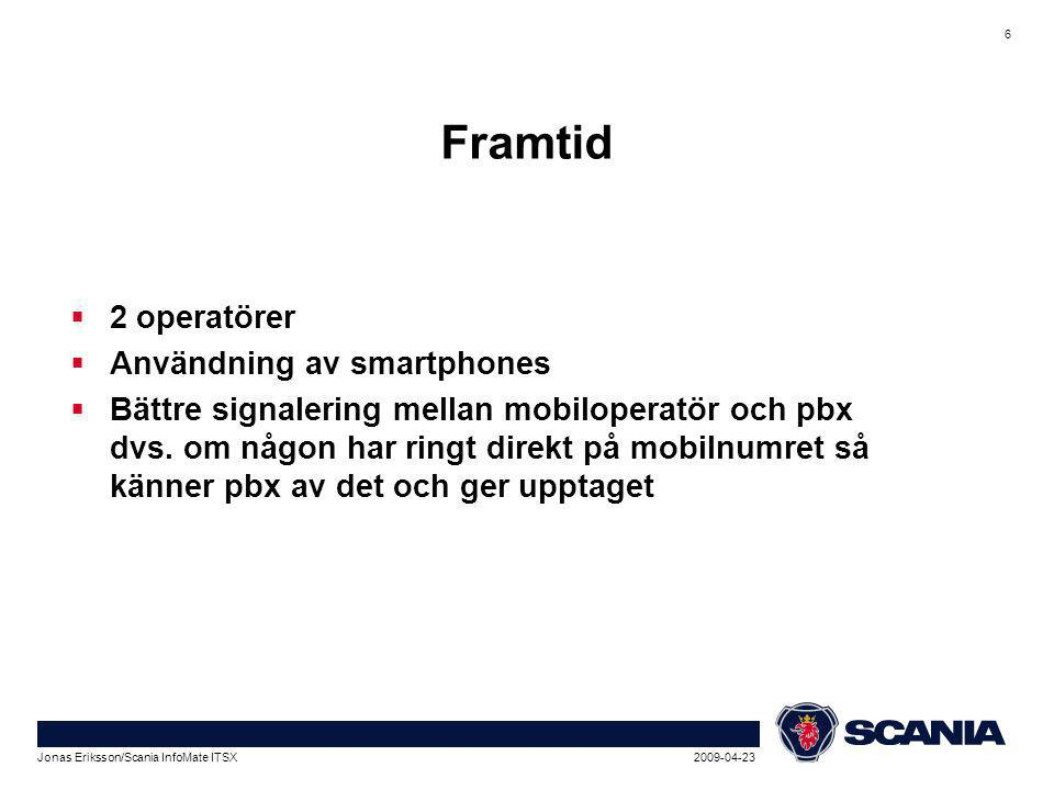 2009-04-23Jonas Eriksson/Scania InfoMate ITSX 7 Att tänka på  Ska mobilnumret vara synligt i katalogen.